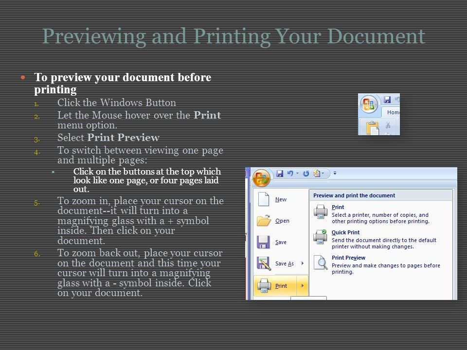 Previewing and Printing Your Document