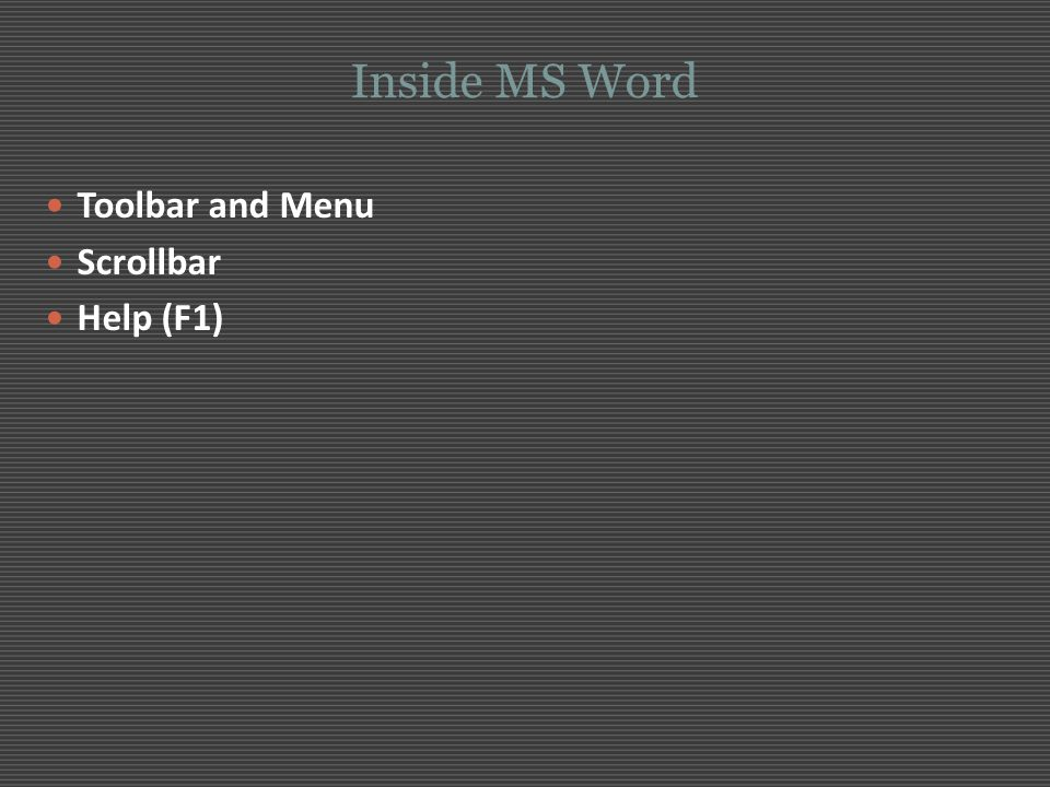 Inside MS Word Toolbar and Menu Scrollbar Help (F1)