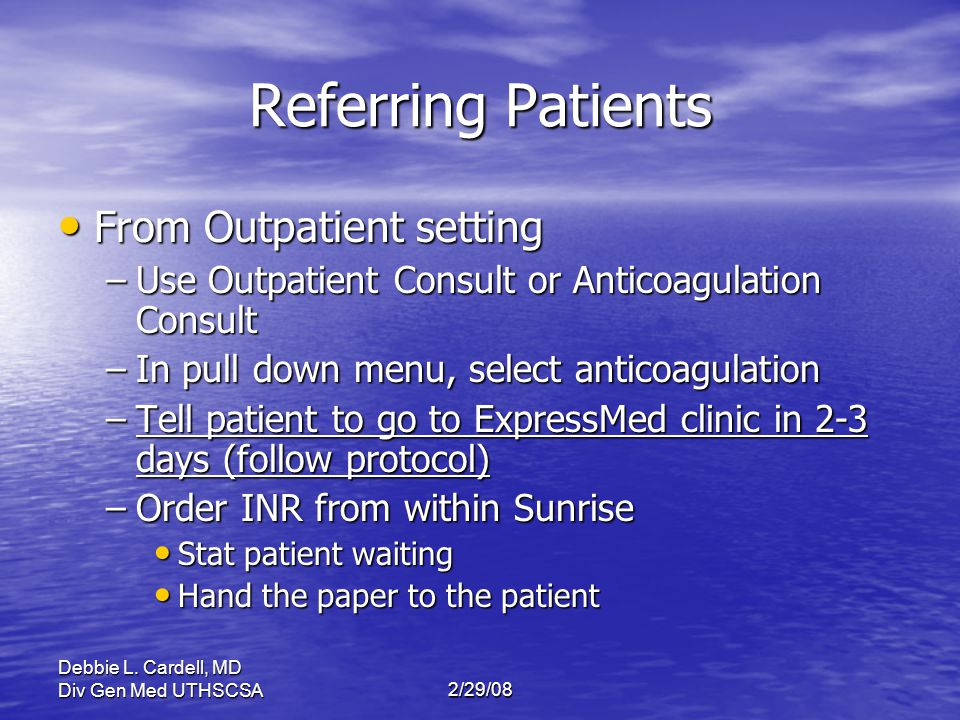 Referring Patients From Outpatient setting