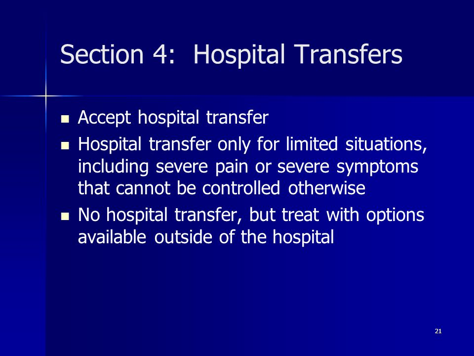 Section 4: Hospital Transfers