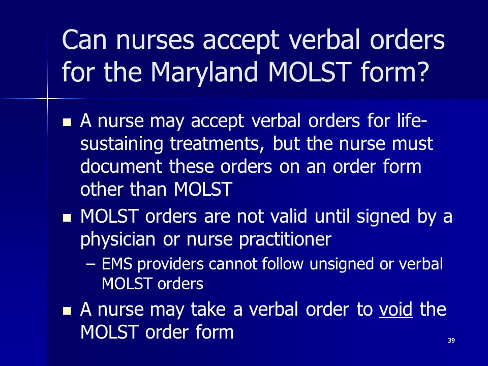 Can nurses accept verbal orders for the Maryland MOLST form