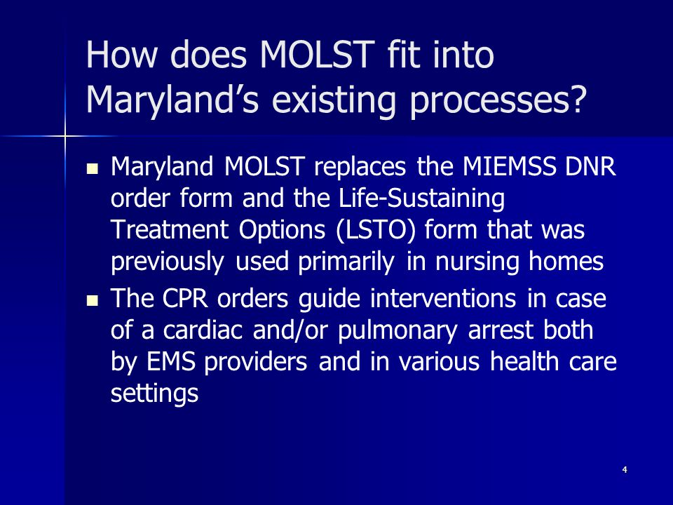 How does MOLST fit into Maryland's existing processes