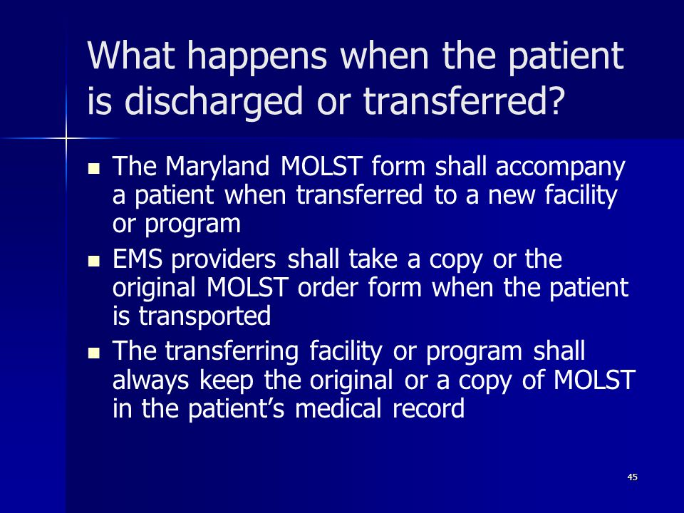 What happens when the patient is discharged or transferred