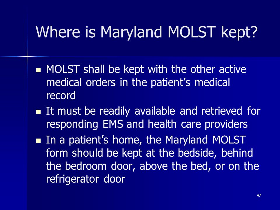 Where is Maryland MOLST kept