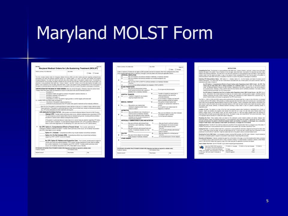 Maryland MOLST Form