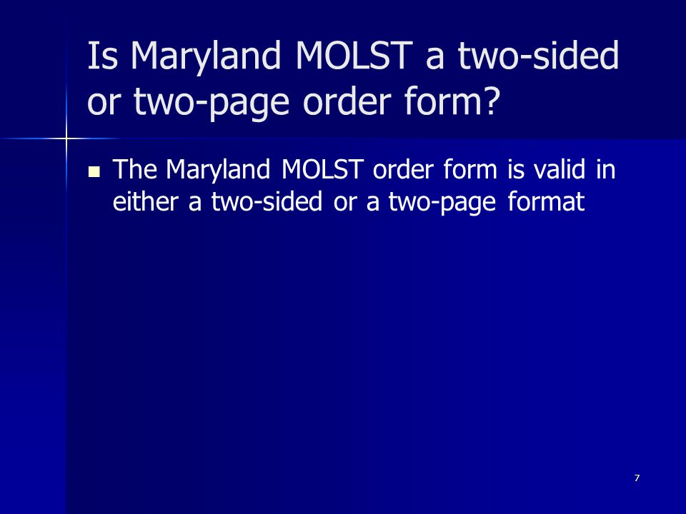 Is Maryland MOLST a two-sided or two-page order form