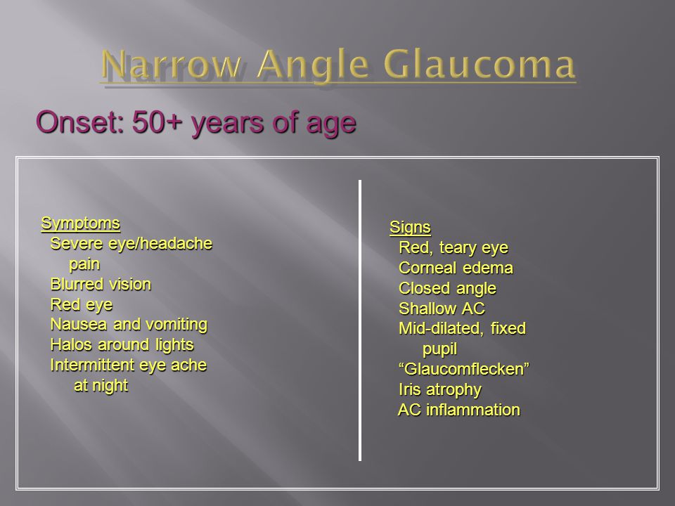 Narrow Angle Glaucoma Onset: 50+ years of age Symptoms