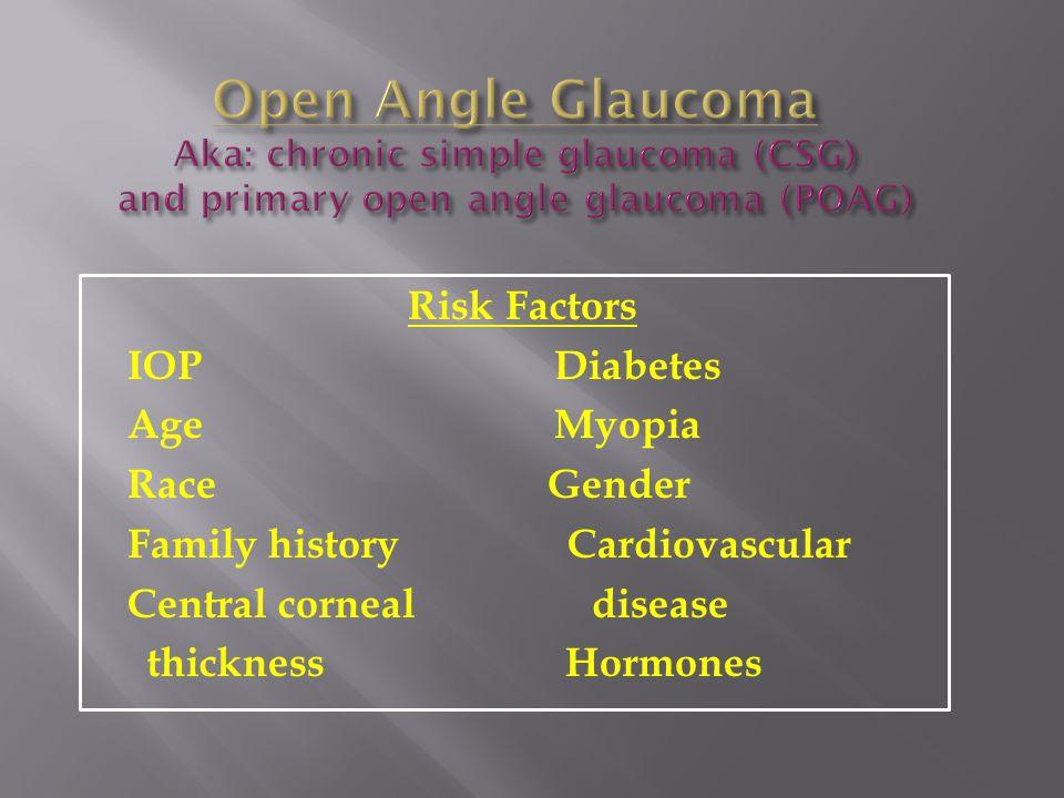 Open Angle Glaucoma Aka: chronic simple glaucoma (CSG) and primary open angle glaucoma (POAG)