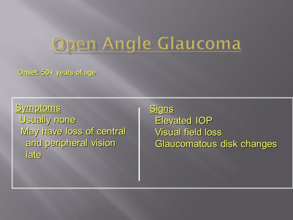 Open Angle Glaucoma Signs Elevated IOP Visual field loss Symptoms
