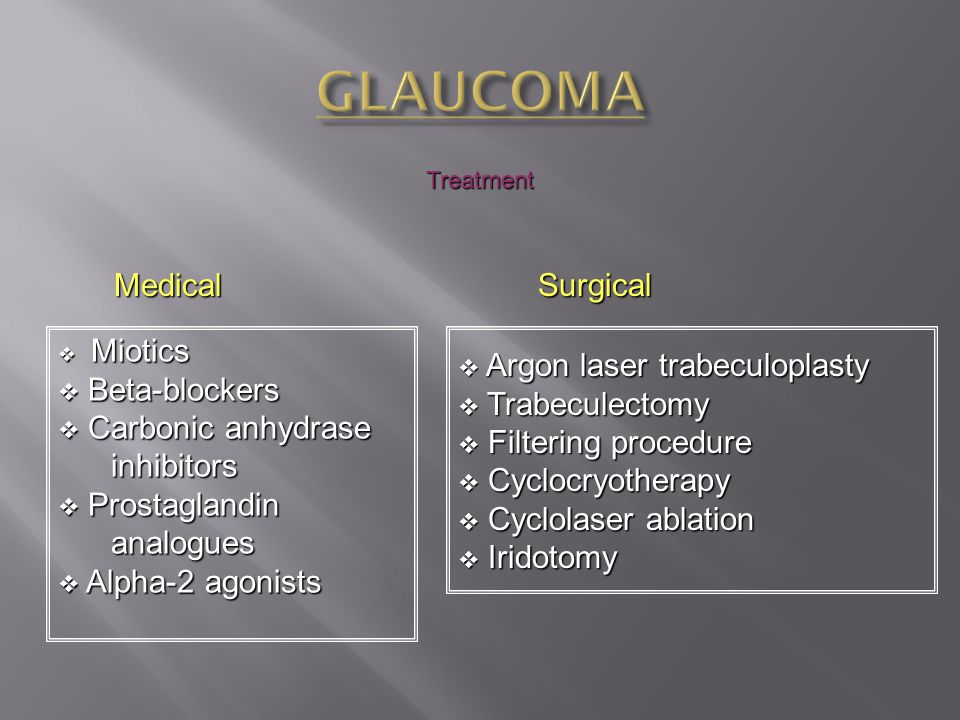 GLAUCOMA Medical Surgical Beta-blockers Carbonic anhydrase inhibitors