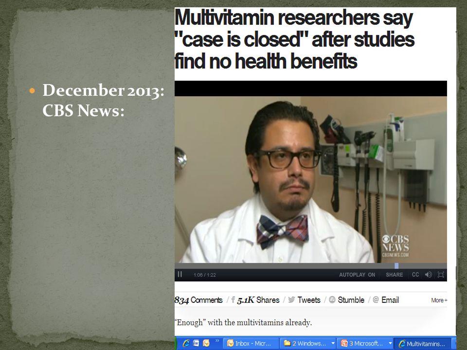 December 2013: CBS News: E. Yeşilada