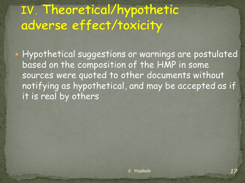 IV. Theoretical/hypothetic adverse effect/toxicity
