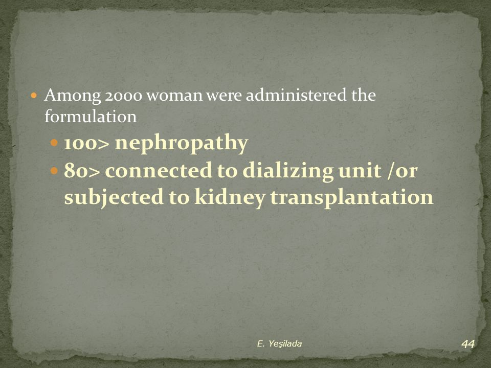 Among 2000 woman were administered the formulation