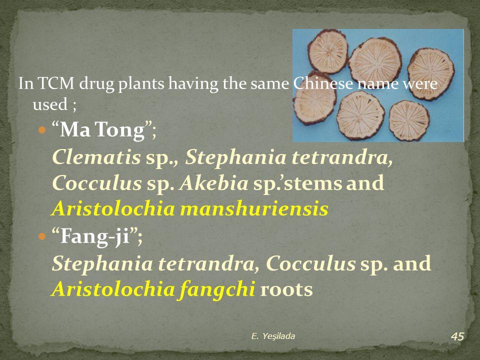 Stephania tetrandra, Cocculus sp. and Aristolochia fangchi roots