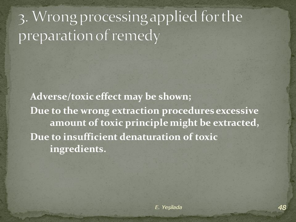 3. Wrong processing applied for the preparation of remedy