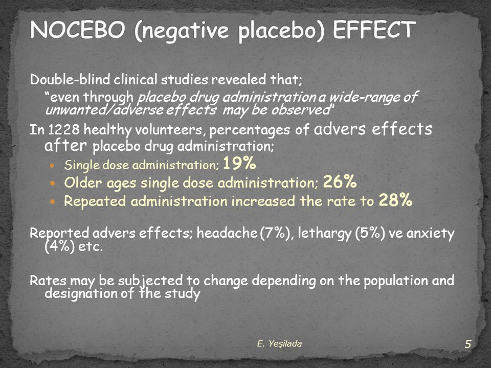 NOCEBO (negative placebo) EFFECT