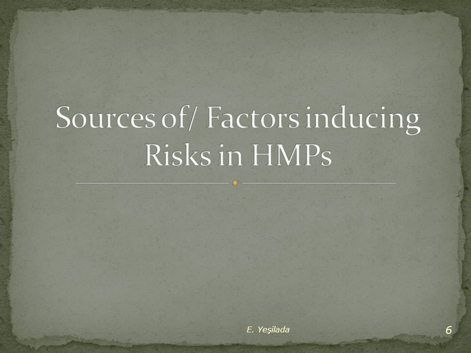 Sources of/ Factors inducing Risks in HMPs