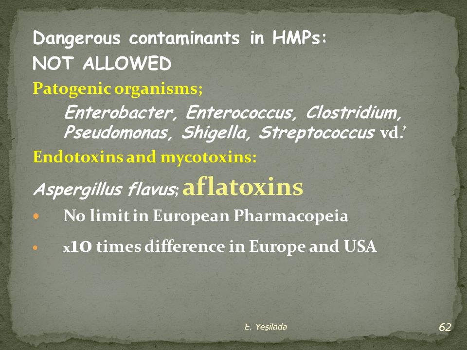 Dangerous contaminants in HMPs: NOT ALLOWED