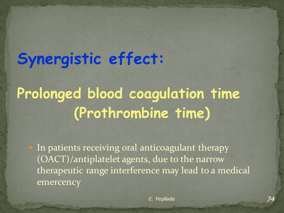 Synergistic effect: Prolonged blood coagulation time