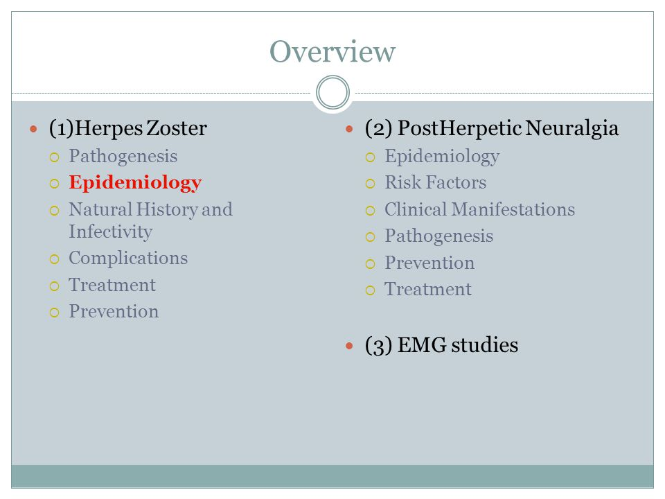 Overview (1)Herpes Zoster (2) PostHerpetic Neuralgia (3) EMG studies