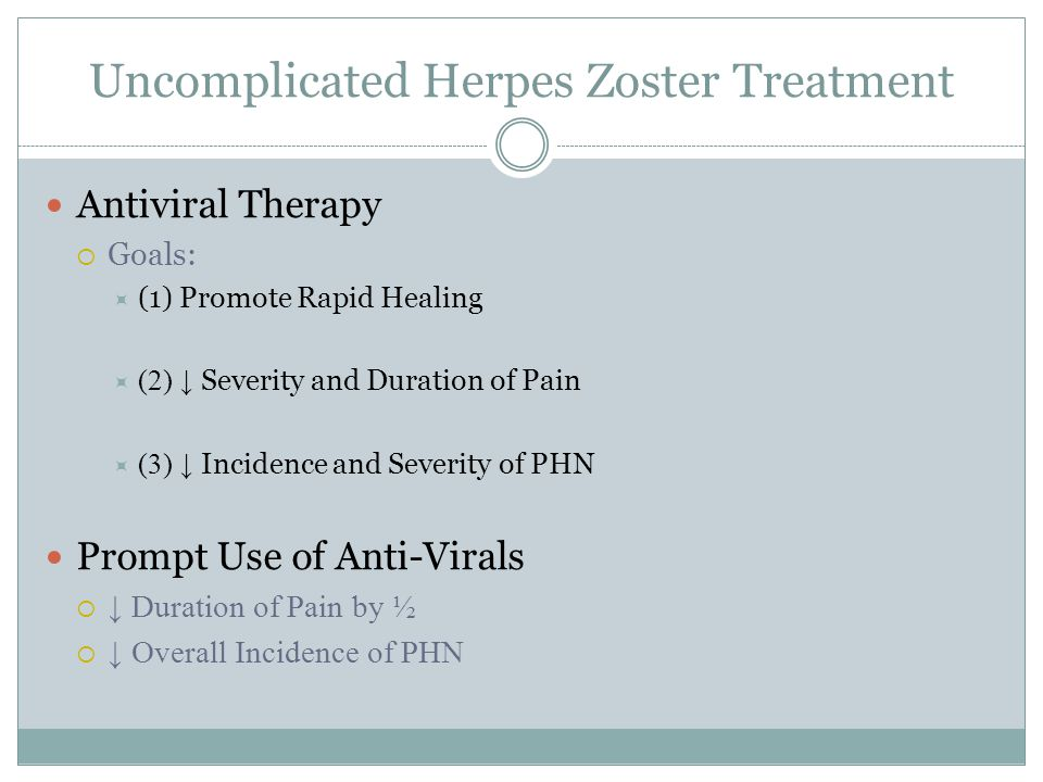 Uncomplicated Herpes Zoster Treatment