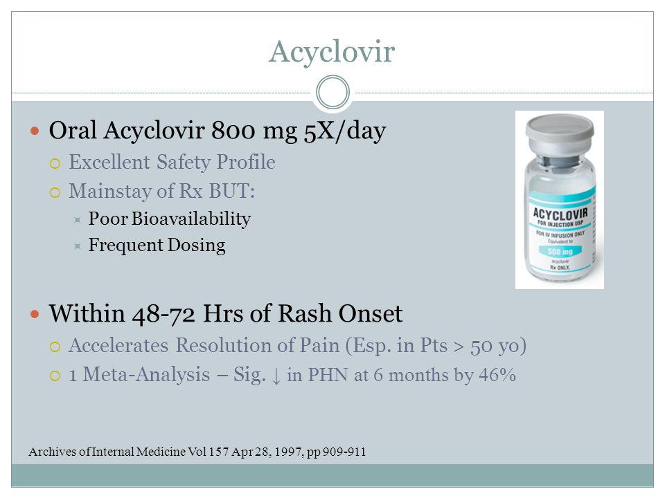 Acyclovir Oral Acyclovir 800 mg 5X/day Within 48-72 Hrs of Rash Onset