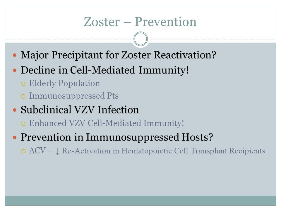 Zoster – Prevention Major Precipitant for Zoster Reactivation