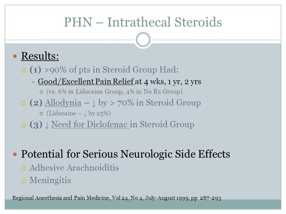 PHN – Intrathecal Steroids