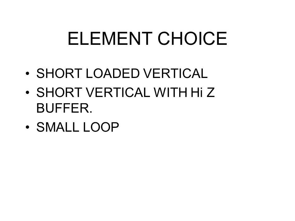 ELEMENT CHOICE SHORT LOADED VERTICAL SHORT VERTICAL WITH Hi Z BUFFER.
