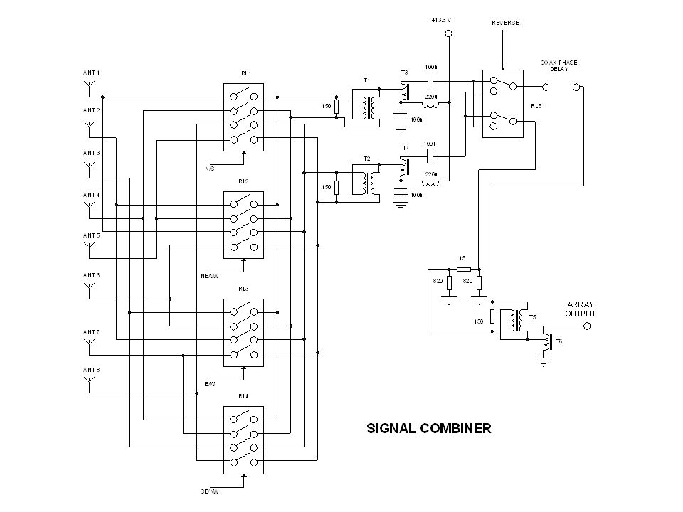This slide shows the circuit used to select the 4 active elements, and to combine the signals from them.