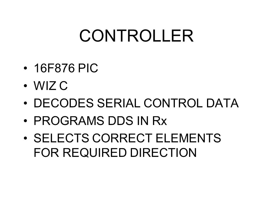 CONTROLLER 16F876 PIC WIZ C DECODES SERIAL CONTROL DATA
