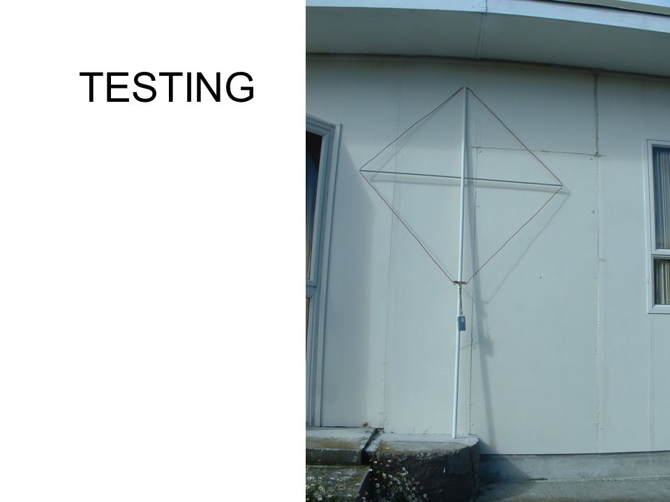 TESTING In order to test the operation of the array, I used a crystal controlled source, and loop antenna, as shown in the slide.