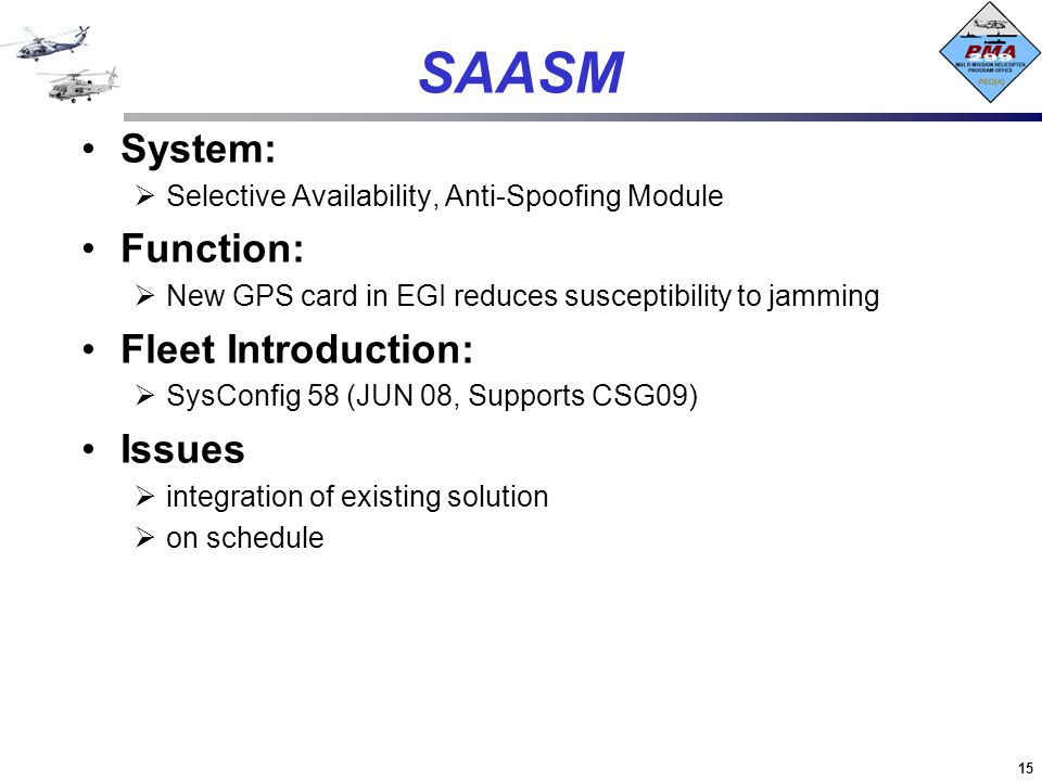 SAASM System: Function: Fleet Introduction: Issues
