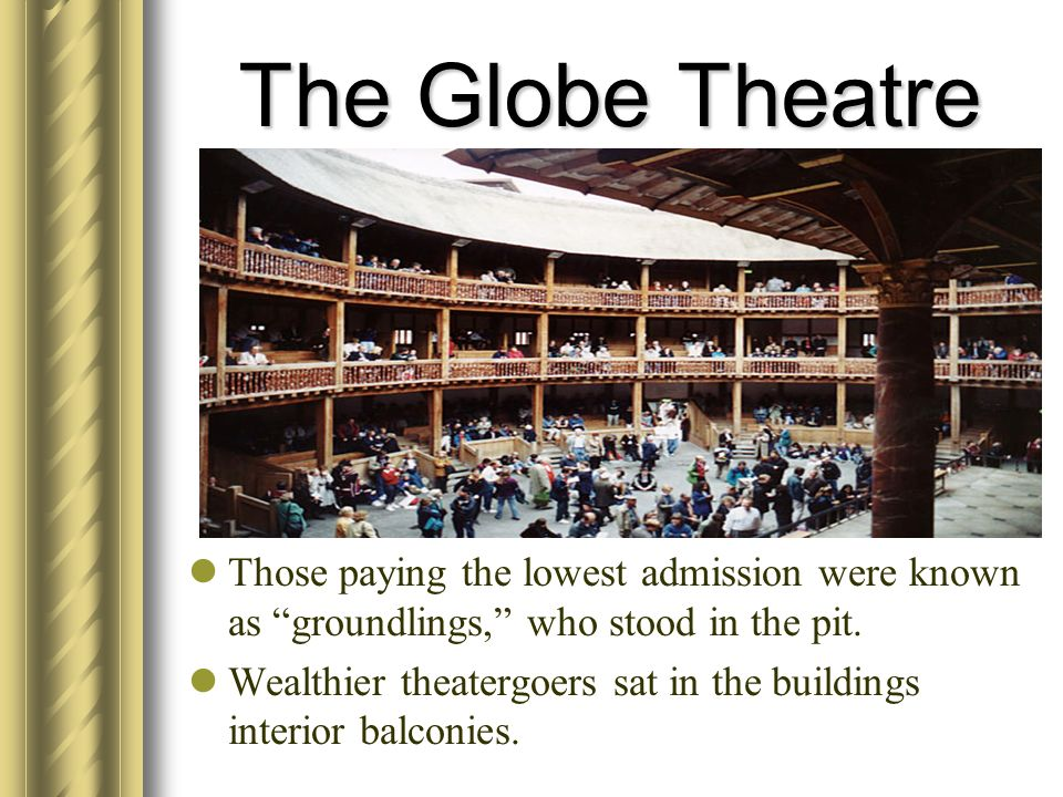 The Globe Theatre Those paying the lowest admission were known as groundlings, who stood in the pit.