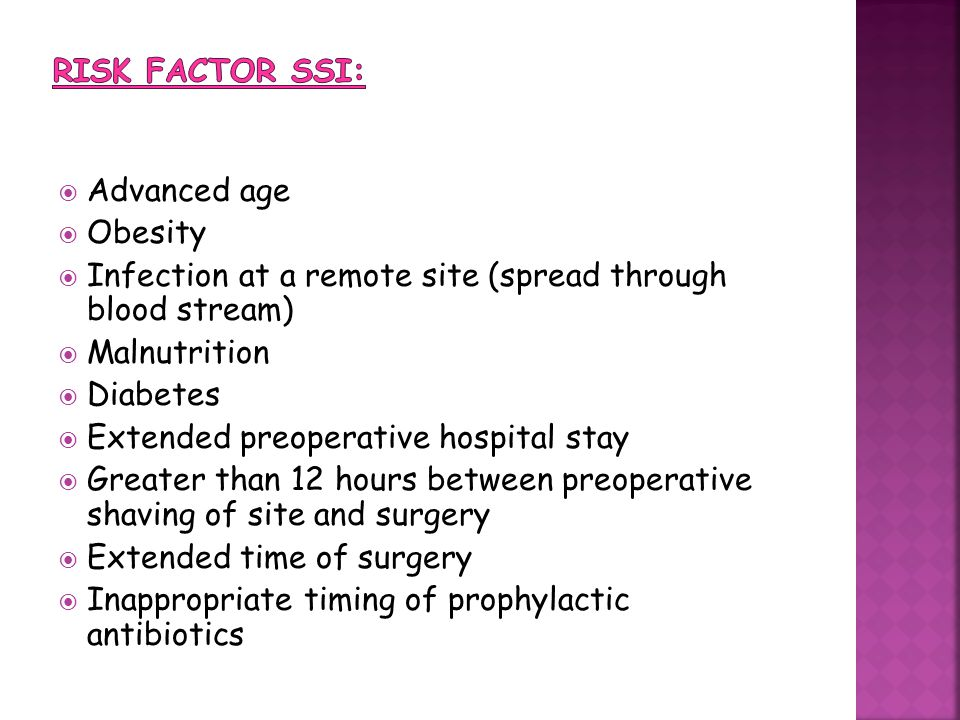 Risk factor SSI: Advanced age. Obesity. Infection at a remote site (spread through blood stream)