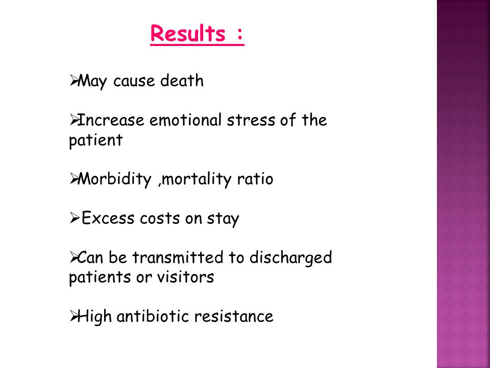 Results : May cause death Increase emotional stress of the patient