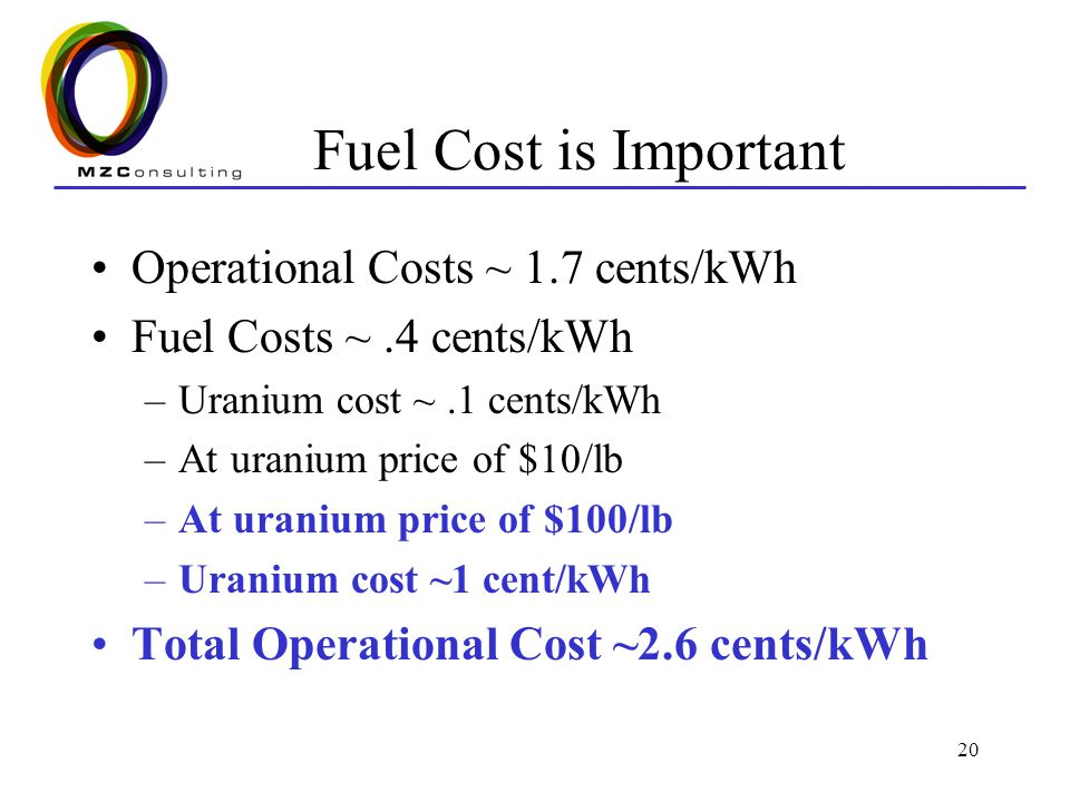 Fuel Cost is Important Operational Costs ~ 1.7 cents/kWh