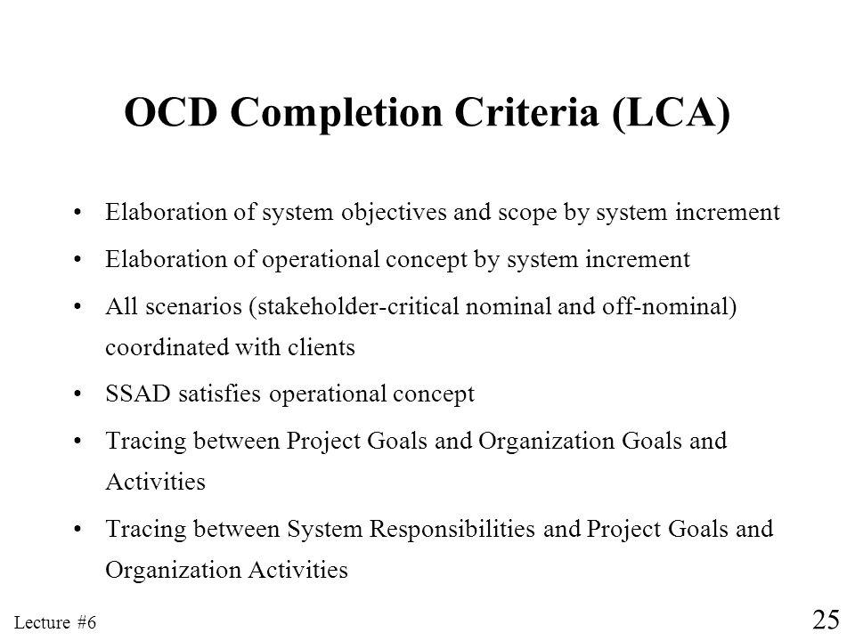 OCD Completion Criteria (LCA)