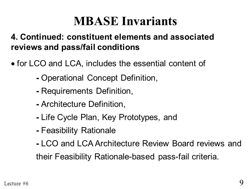 MBASE Invariants 4. Continued: constituent elements and associated
