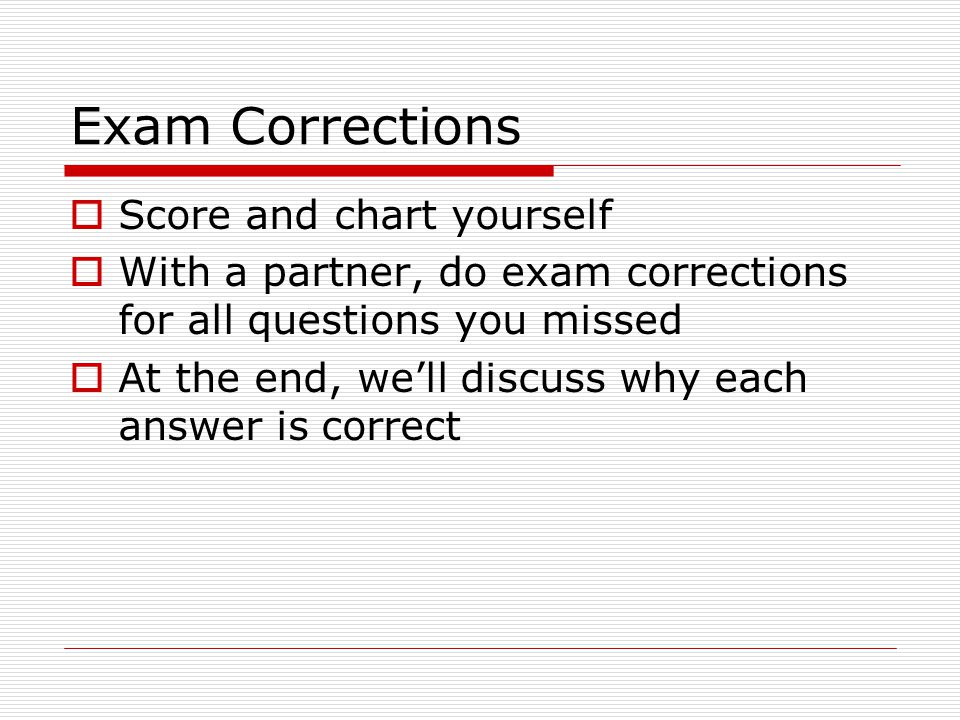 Exam Corrections Score and chart yourself