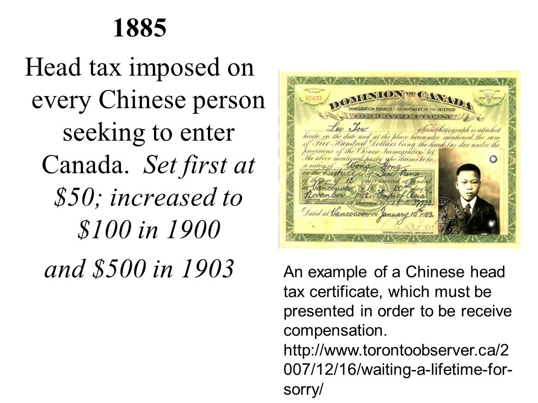 1885 Head tax imposed on every Chinese person seeking to enter Canada. Set first at $50; increased to $100 in 1900.