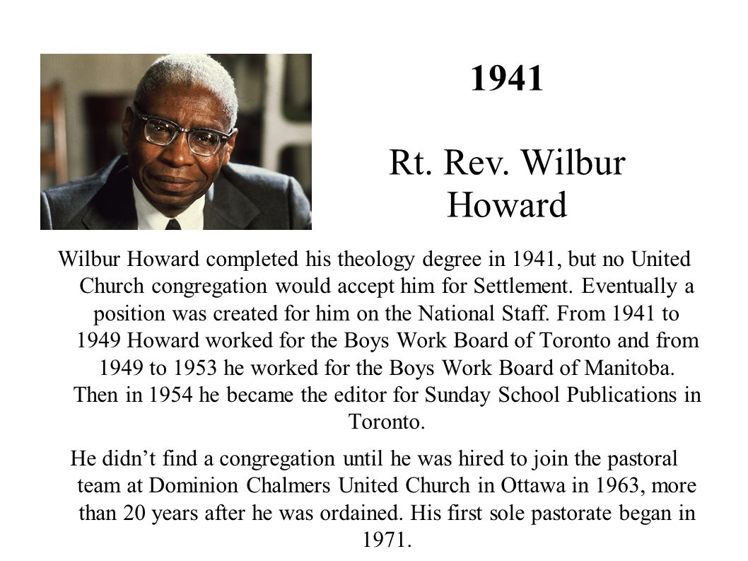 1941 Rt. Rev. Wilbur Howard.