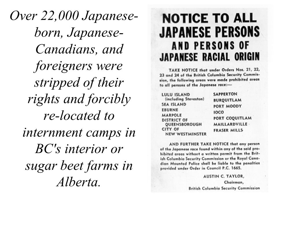 Over 22,000 Japanese- born, Japanese- Canadians, and foreigners were stripped of their rights and forcibly re-located to internment camps in BC s interior or sugar beet farms in Alberta.