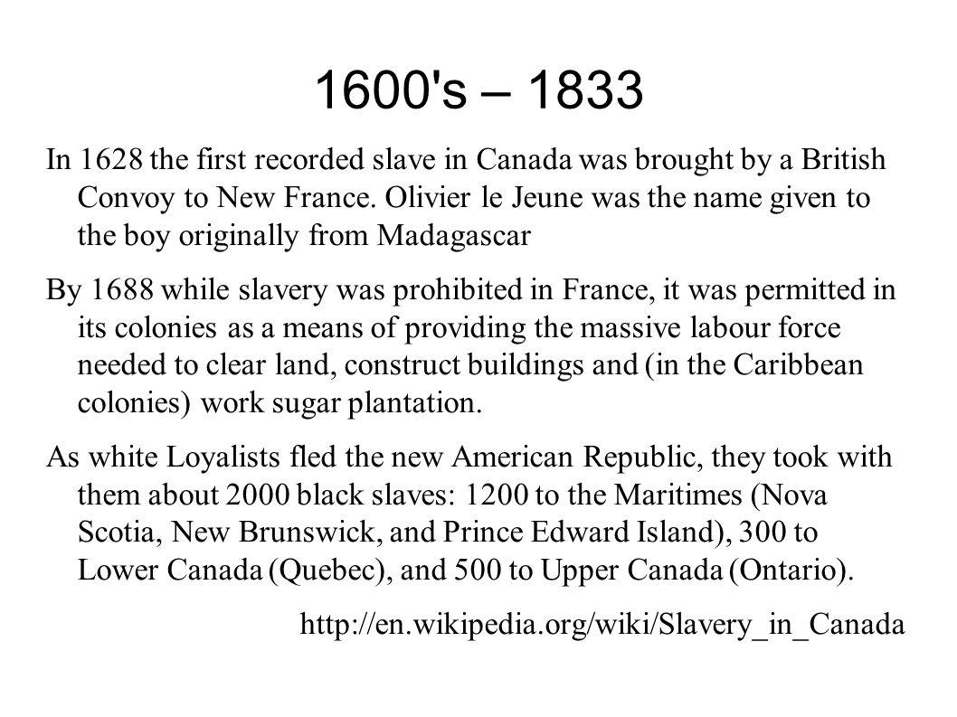 1600 s – 1833