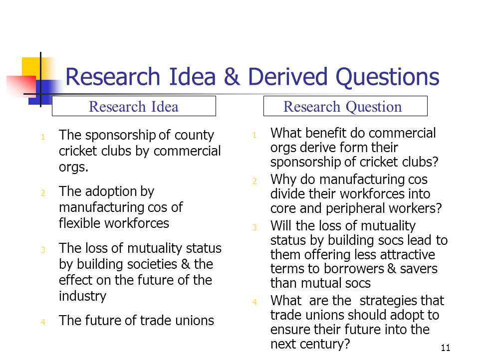 Research Idea & Derived Questions