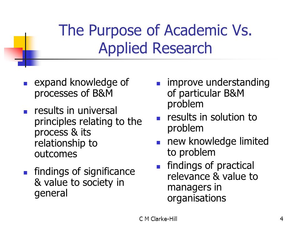 The Purpose of Academic Vs. Applied Research