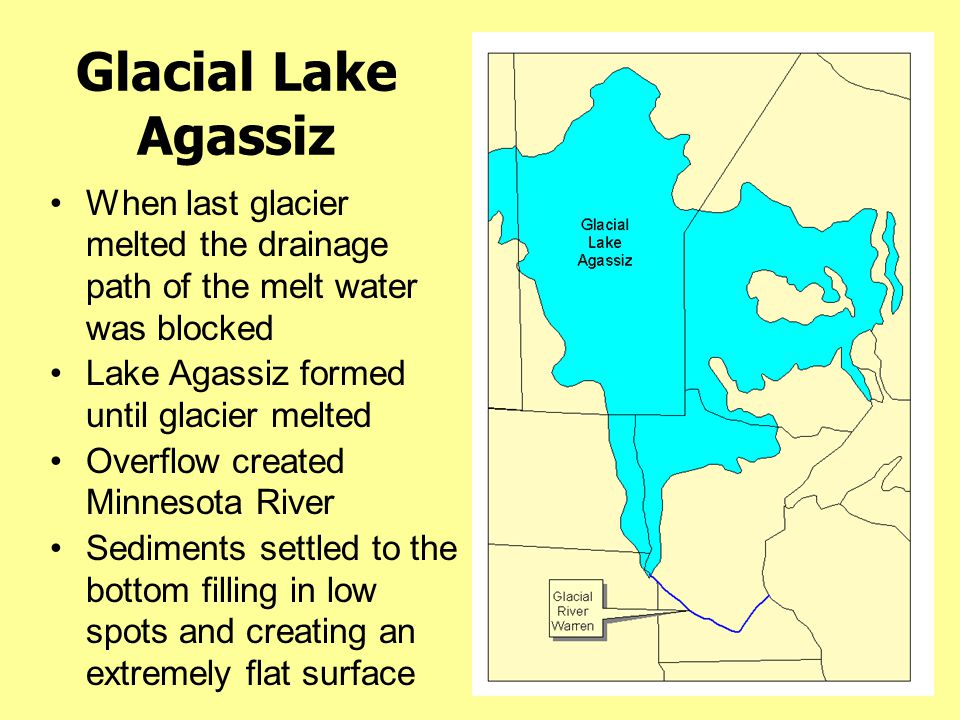 Glacial Lake Agassiz When last glacier melted the drainage path of the melt water was blocked. Lake Agassiz formed until glacier melted.