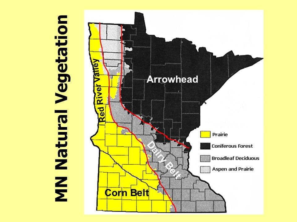 Arrowhead Red River Valley MN Natural Vegetation Dairy Belt Corn Belt