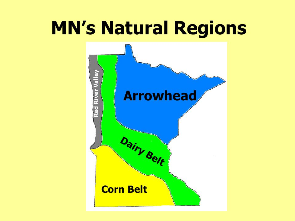 MN's Natural Regions Red River Valley Arrowhead Dairy Belt Corn Belt