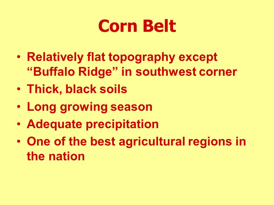 Corn Belt Relatively flat topography except Buffalo Ridge in southwest corner. Thick, black soils.